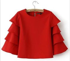 Women New Arrival Korean Style Petal Blouse Fashion Causal 3/4 Sleeve Summer Spring Streetwear Girl's Tops