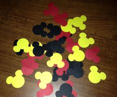 75 Mickey Mouse Die Cuts/ Mickey Mouse Confetti/ Mickey Mouse Party Decorations/ 1.25 inches from ear to ear on Etsy, $2.99