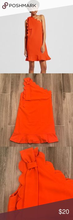 Orange Scalloped-neck Dress Victoria Beckham for Target Dress. Vivid orange with a retro feel. Perfect for spring and summer parties! First photo is a stock photo, all other are of the actual dress for sale. Victoria Beckham for Target Dresses