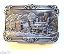 BELT BUCKLE, SILVER.  Men's Vintage Siskiyou 1984 Locomotive-Train Silver Tone Pewter Belt Buckle.  Free Shipping