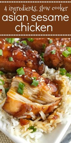 Slow Cooker Asian Sesame Chicken | 4 ingredients are all you need for this super easy & quick dinner recipe! Slow cooker Asian sesame chicken is a family pleasing meal that is loaded with lots of flavor and tender chicken. #chickenrecipes #easydinnerrecipes #chicken