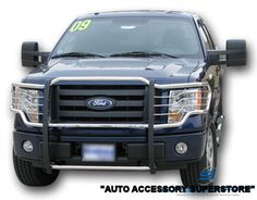 2009-2014 Ford F150 Grille Guard. It truly adds that rugged off-road look; while protecting your truck from major damage. Quick and easy no-drill installation. Available in all black; or chrome finishes. For complete details & pricing: http://www.ronusa.com/grille_guards.shtm