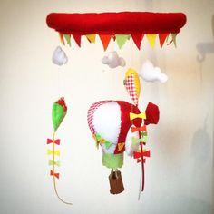Hot Air Balloon and Kites baby crib Mobile by WishUponAFelt