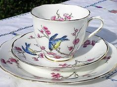 """Antique Hand Painted Royal Albert Crown China Part Tea Set In """"Blossom"""" Pattern"""
