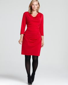 DKNYC Plus Three Quarter Sleeve Cowl Neck Ruched Dress | Bloomingdale's