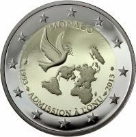 """Monaco bijzondere 2 Euromunten - Monaco 2 Euro 2013 """"20 Jr. UN"""""""