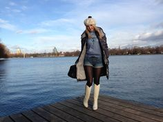 MONCLER DOWN COAT, BLUE LAKE, WHITE WINTER- ALL TOGETHER SO PEACEFUL  http://www.hannoverfashion.com/outfit/moncer-down-coat-blue-lake-white-winter-all-together-so-peaceful/