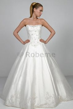 White Ball Gown Strapless Church Satin Wedding Dresses With Liques