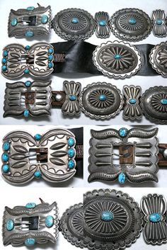 https://flic.kr/p/8phynv | Navajo Concho Belts | Three traditional Navajo concho belts, circa 1930s. The top belt is attributed to Hosteen Goodluck.