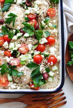 Greek Chicken and Rice Casserole from @bevweidner