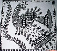 Related image Madhubani Paintings Peacock, Kalamkari Painting, Madhubani Art, Indian Paintings, Gond Painting, Tanjore Painting, Mural Painting, Fabric Painting, Peacock Drawing