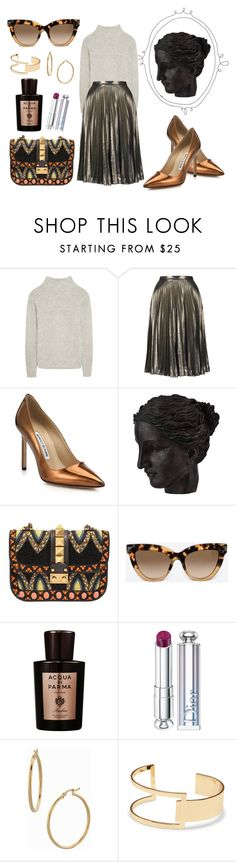 """""""PalazzoDiMetallo"""" by vvaa ❤ liked on Polyvore featuring Frame Denim, Topshop, Manolo Blahnik, Ren-Wil, Valentino, Ambra, Christian Dior, Bony Levy and Sole Society"""