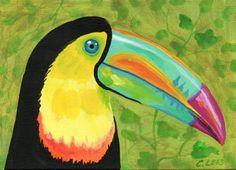 "5""x7"" Original Acrylic Painting, Bright Toucan Bird, Art on Flat Panel Canvas #IllustrationArt"