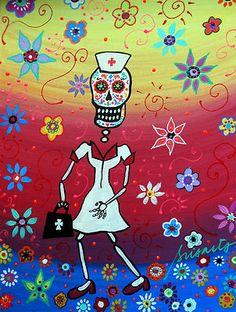 Nurse Dia de los Muertos    Checkout PRISARTS on eBay for new auction paintings    Pristineturkus.blogspot.com
