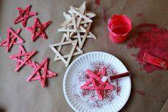 fun! popsicle stick stars with glitter!
