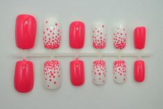 """ON SALE - Artificial Nails - """"Dot Gradient"""" -  Coral & White (More Colors Available), Hand Painted, Fake Nails"""