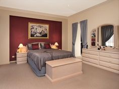 Thinking about bedroom curtains and drapes? Your choice will set the interior style of the bedroom, and are a hugely important part of any major makeover. Red Feature Wall, Feature Wall Bedroom, Bedroom Wall, Master Bedroom, Bedroom Decor, Bedroom Ideas, Bedroom Inspiration, Bedroom Red, Dream Bedroom