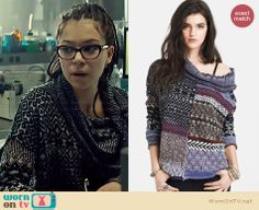 Cosima's mixed pattern cowl neck sweater on Orphan Black.  Outfit Details: http://wornontv.net/33845/ #OrphanBlack