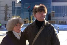 Aspiring mayoral candidate Henry Wojak stands in front of Thunder Bay City Hall with wife, Valerie Wojak, Monday afternoon. Henry Wojak is attempting to file his nomination papers to run as mayor for the City of Thunder Bay, but has the unique challenge of trying to do that while under a city hall trespass notice.  #tbay
