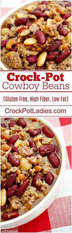 Crock-Pot Cowboy Beans - Serve these delicious and easy to make Crock-Pot Cowboy Beans for your next party reunion or get together. This recipe serves a crowd and everyone will be asking you for the recipe! Best Slow Cooker, Slow Cooker Recipes, Crockpot Recipes, Cooking Recipes, Healthy Recipes, Bean Recipes, Side Dish Recipes, Paleo Dinner, Dinner Recipes