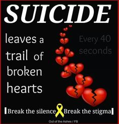 Suicide may end the pain for one person but it is passed on to those who knew them.