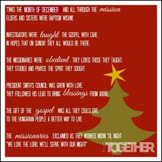 Missionary Mail: Christmas Poem - easy to personalize for your missionary by adding the mission President's name and where they're serving!  www.lets-get-together.com #christmas #missionarymail