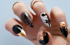 Black gloss with copper & marble press on nails