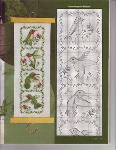 Hummingbirds (Just Cross Stitch 2009 March-April) Tiny Cross Stitch, Cross Stitch Bookmarks, Cross Stitch Needles, Cross Stitch Cards, Cross Stitch Animals, Cross Stitch Flowers, Counted Cross Stitch Patterns, Cross Stitch Designs, Cross Stitching