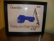 Footprint Fish Birthday Card - great for Grandpa or Dad