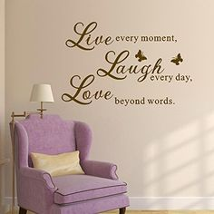 MairGwall Beautiful Butterfly Wall Decal Sticker Wallpaper Removable Motivational Wall Quotes Lettering For Bedroom Living Room Nursery Live Every Moment Laugh *** More info could be found at the image url.