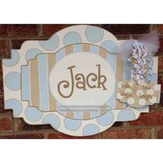 Striped & Polkadot Personalized Baby Sign For Hospital Door (Blue/Tan) on Etsy, $47.00