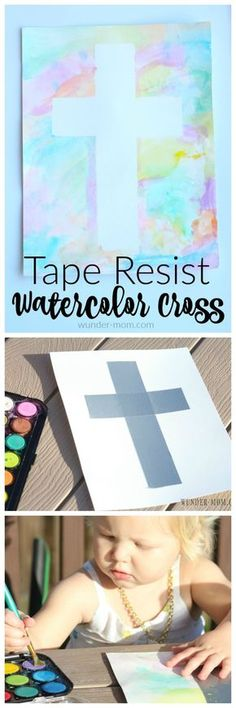 this is a gorgeous spring art project for the little ones!! I just love how the tape resist watercolor cross turned out. Perfect for toddler art or preschool art.
