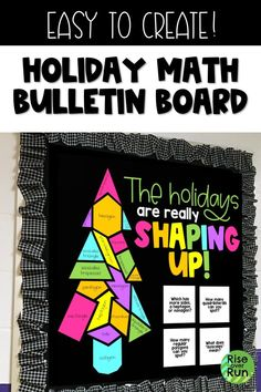 Love this holiday math bulletin board! It has a Christmas tree made of shapes. Perfect for any math classroom. Easy to create, just print, cut, and hang the pieces on a board or door. Help students learn geometry and it looks great! Bulletin Board Design, Math Boards, Classroom Bulletin Boards, Algebra Bulletin Boards, Preschool Bulletin, Classroom Door, Kindergarten Classroom, Math Classroom Decorations, Holiday Classrooms