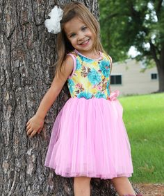 Look at this Kosse Designs Light Pink & Yellow Flower Tulle Dress - Toddler & Girls on #zulily today!