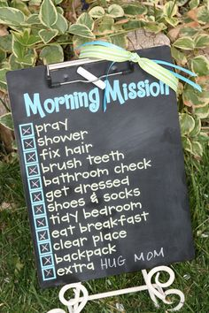 """This """"Morning Mission"""" board utilizes chalkboard paint and a clipboard. Great inspiration from Emily of Remarkable Home blog!"""
