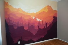Home Interior Design — Bedroom wall mural based on Firewatch's artwork by. Bedroom Murals, Bedroom Wall, Bedroom Pics, Mountain Mural, Wall Drawing, Mural Wall Art, Paint Designs, Home Interior Design, Artsy
