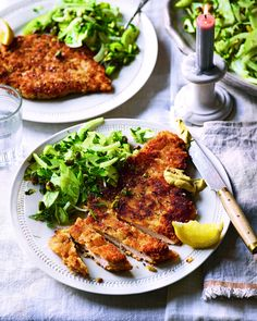 Crispy chicken schnitzel is served with a sweet and crunchy fennel, pistachio and apple salad in this easy dinner for four. Fennel And Apple Salad, Fennel Recipes, Chicken Schnitzel, Midweek Meals, Delicious Magazine, Molecular Gastronomy, Food Presentation, Foodies, Crispy Chicken