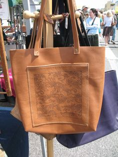 Laser Etched Leather Tote using Dover Clip art