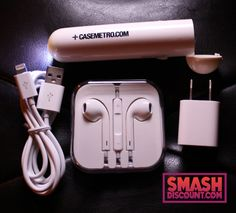 IPHONE TRAVEL BUNDLE WITH POWER BANK, CABLE, EARPODS & USB ADAPTER - This is the perfect holiday gift for an iPhone owner! Power on the go with our 26x Universal Battery Bank with built-in LED flashlight, a premium quality 3' lightning cable, 5w USB power adapter and our very popular iSmashD EarPods with included microphone.
