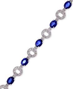 Royale Bleu by Effy Sapphire (5-1/8 ct. t.w.) and Diamond (1/3 ct. t.w.) Bracelet in 14k White Gold