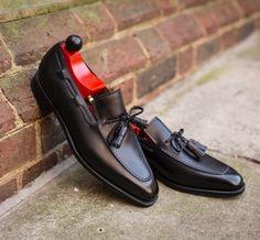 New Handmade Men Black Leather Moccasins, Men Black Loafer Slip Ons Shoes - Casual