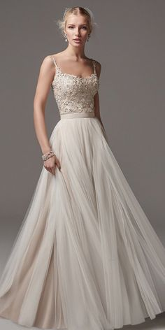 Modest Tulle Spaghetti Straps Neckline A-Line Wedding Dress With Beaded Lace Appliques & Belt