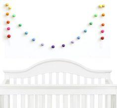 Felt Ball Garland Nursery Decor Rainbow Birthday by SheepFarmFelt