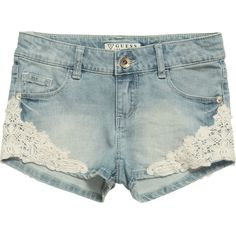 Guess Girls Blue Denim Shorts with Lace Trim at Childrensalon.com