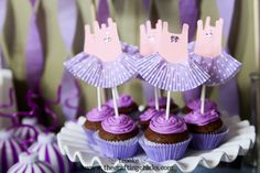 For my 5 year old's birthday party we decided to go with a Purplicious Dance Party theme--combining her favorite color with her favorite activity!) I made some simple dance leotard & tutu cupcake toppers to Dance Cupcakes, Tutu Cupcakes, Girl Cupcakes, Ballerina Cupcakes, Diva Birthday Parties, Ballerina Birthday Parties, Birthday Treats, Ballerina Party, Baby Shower Cupcakes For Girls