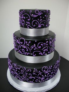 purple+and+silver+wedding+cakes | purple scrollwork wedding cake black with purple wedding cake cake ...