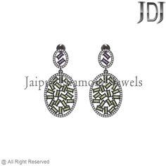 6.3ct Gemstone Baguettes White Diamond Sterling Silver Dangle Earrings Jewelry #earrings #gemstone #baguettes #diamondjewelry #pavediamond #beautiful #fashion #handmade #dropdangle #flower