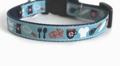 Cute Dog Collar in Light Blue with Kitchen by youhadmeatwoof, $17.00