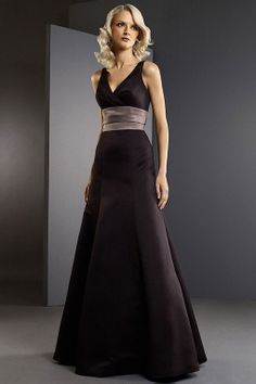 V-neck satin bridesmaid dress with empire waist