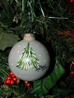Glass Hand Painted Tree Ornament. $9.99, via Etsy.